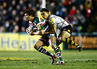Photo: Richard Lane/Richard Lane Photography. Leicester Tigers v London Wasps. Aviva Premiership. 07/01/2012. Tigers' Ben Youngs is tackled by Wasps' Nic Berry.