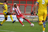 Marcus Dinanga of Stevenage FC shoots wide during Stevenage vs Concord Rangers , Emirates FA Cup Football at the Lamex Stadium on 7th November 2020