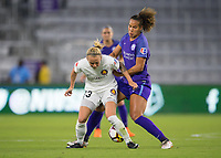 Orlando, FL - Saturday March 24, 2018: Utah Royals Gunnhildur Jonsdottir (23) is pressured by Orlando Pride defender Toni Pressley (3) during a regular season National Women's Soccer League (NWSL) match between the Orlando Pride and the Utah Royals FC at Orlando City Stadium. The game ended in a 1-1 draw.