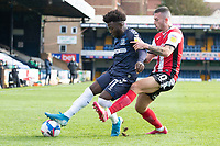 Terrell Egbri, Southend United under pressure from Lewis Page of Exeter City towards the corner during Southend United vs Exeter City, Sky Bet EFL League 2 Football at Roots Hall on 10th October 2020