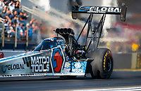 Feb 7, 2020; Pomona, CA, USA; NHRA top fuel driver Antron Brown during qualifying for the Winternationals at Auto Club Raceway at Pomona. Mandatory Credit: Mark J. Rebilas-USA TODAY Sports