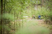 Marcel Sieberg (DEU/Lotto-Soudal) &  Fernando Gaviria (COL/Quick Step Floors) through the forest around the lake at the Tom Boonen farewell race/criterium 'Tom Says Thanks!' in Mol/Belgium