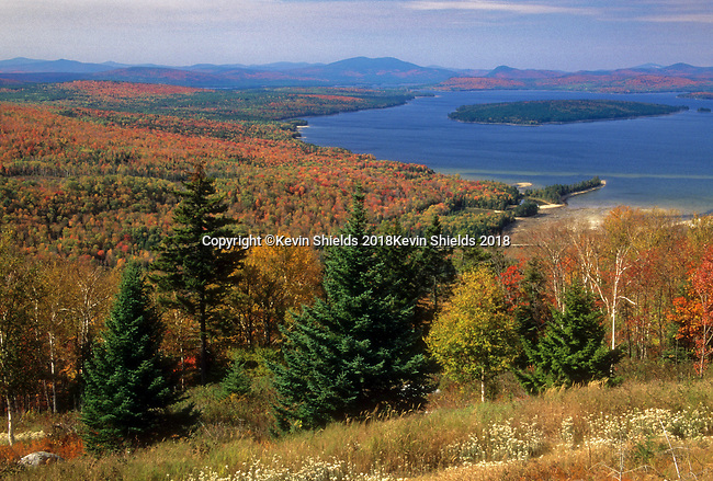 Fall view of Mooselookmeguntic Lake from the Height of Land, Rangeley Plantation, Maine, USA