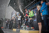 champagne shower action by this impressive 72nd Omloop Het Nieuwsblad 2017 podium!<br /> 1/ Olympic Champion Greg Van Avermaet (BEL/BMC)<br /> 2/ World Champion Peter Sagan (SVK/Bora-Hansgrohe)<br /> 3/ Sep Vanmarcke (BEL/Cannondale-Drapac)