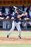 Pittsburgh Panthers left fielder Connor Perry (5) awaits a pitch during a game against the North Carolina Tar Heels at Boshamer Stadium on March 17, 2018 in Chapel Hill, North Carolina. The Tar Heels defeated the Panthers 4-0. (Tony Farlow/Four Seam Images)
