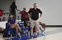 Fayetteville head coach Vic Rimmer watches his players, Thursday, June 10, 2021 during a basketball game at Rogers High School in Rogers. Check out nwaonline.com/210611Daily/ for today's photo gallery. <br /> (NWA Democrat-Gazette/Charlie Kaijo)