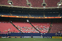 80,000 seat Giant's Stadium looked a little empty as the MetroStars drew a sub par attendance of only 10.737 for their first ever mid week matinee. The Kansas City Wizards and the NY/NJ MetroStars played to a 0-0 tie on 8/13/03 at Giant's Stadium, NJ..