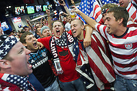 USA Fan celebrate the United States Men's National Team's win against Guatemala at Livestrong Sporting Park in Kansas City, Kansas in a World Cup Qualifier on Tue. Oct. 16, 2012. The USA won 3-1.
