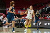 COLLEGE PARK, MD - NOVEMBER 20: Shakira Austin #1 of Maryland moves into the attack during a game between George Washington University and University of Maryland at Xfinity Center on November 20, 2019 in College Park, Maryland.