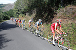 Alberto Losada (katusha Team), Javi Moreno (movistar Team), Ben Gastauer and Blel Kadri (Ag2r), Adrian Palomares (Andalucia), Alessandro Ballan (BMC), David Moncoutie and Rudy Molard (Cofidis) Amets Txurruka (Euskaltel-Euskadi), Maciej Paterski (Liquigas_Cannondale), Dario Cataldo and Serge Pauwels (Omega Phar,a-QuickStep), Simon Clarke (Orica-GreenEdge), Juanma Garate (Rabobank) and Jan Bakelants and Laurent Didier (RadioShack-Nissan) escapees during the stage of La Vuelta 2012 between Palas de Rei and Puerto de Ancares.September 1,2012. (ALTERPHOTOS/Paola Otero)