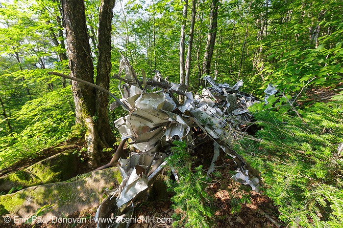 Crash site of a B-18 Bomber on Mount Waternomee in North Woodstock, New Hampshire. This bomber crashed on January 14, 1942. Out of seven crew members, five survived the crash and were able to remove themselves from the wreckage. The remaining two members died when the plane exploded.