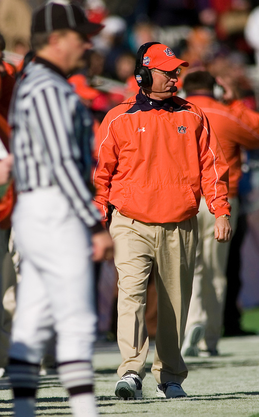01 January 2007: Auburn coach Tommy Tuberville roams the sideline during the 2007 AT&T Cotton Bowl Classic between The University of Auburn and The University of Nebraska at The Cotton Bowl in Dallas, TX.