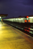 Original Image Photographed on 35mm Transparency Film.  <br /> <br /> Soft Focus View of Subway Train Arriving in an Elevated Subway Station, Parkchester, Bronx, New York City, New York State, USA