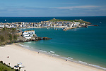 United Kingdom, England, Cornwall, St Ives: Porthminster beach and harbour | Grossbritannien, England, Cornwall, St Ives: Porthminster beach und Hafen