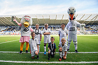 Swansea Mascots with Cyril and Cybil during the Sky Bet Championship match between Swansea City and Nottingham Forest at the Liberty Stadium in Swansea, Wales, UK. Saturday 14 September 2019