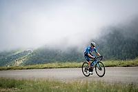 Miguel Ángel López (COL/Movistar) in the final kilometers up the final climb of the day; the Col du Portet (HC/2215m)<br /> <br /> Stage 17 from Muret to Saint-Lary-Soulan (Col du Portet)(178km)<br /> 108th Tour de France 2021 (2.UWT)<br /> <br /> ©kramon