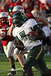 Oregon running back, LeGarrette Blount (#9), gets to the corner with the defense in hot pursuit during the Ducks Pac-10 conference game against the Washington State Cougars at Martin Stadium in Pullman, Washington, on September 27, 2008.