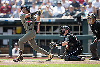 Vanderbilt Commodores third baseman Austin Martin (16) follows through on his second home run of Game 3 of the NCAA College World Series against the Louisville Cardinals on June 16, 2019 at TD Ameritrade Park in Omaha, Nebraska. Vanderbilt defeated Louisville 3-1. (Andrew Woolley/Four Seam Images)