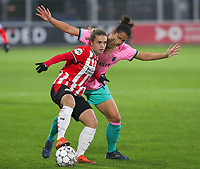 Jennifer Hermoso (7 Barcelona) and Jeslynn Kuijpers (19 PSV) in action during a female soccer game between PSV Eindhoven Vrouwen and Barcelona, in the round of 32, 1st leg of Uefa Womens Champions League of the 2020 - 2021 season , Wednesday 9th of December 2020  in , Eindhoven, the Netherlands. PHOTO SPORTPIX.BE | SPP | SEVIL OKTEM