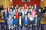 O'Breannain NS 6th class at their Confirmation in St Brendan's Church, Ballmac on Thursday with Bishop Ray Browne, Fr Gearoid Walsh, Barry O'Leary (Principal) and Eamon Sheehy (Class Teacher).