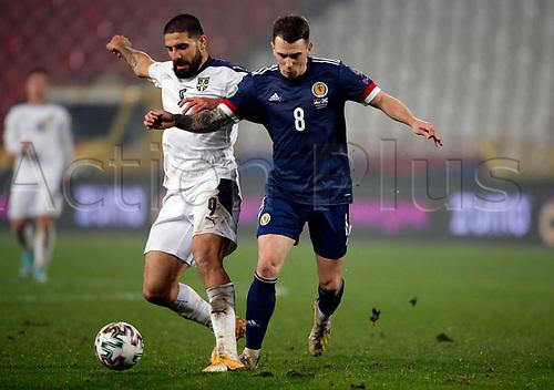 12th November 2020; Belgrade, Serbia; European International Football Playfoff Final, Serbia versus Scotland;  Serbias Aleksandar Mitrovic vies with Scotlands Ryan Jack