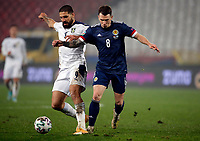 12th November 2020; Belgrade, Serbia; European International Football Playfoff Final, Serbia versus Scotland;  Serbias Aleksandar Mitrovic vies with Scotlands Ryan Jack
