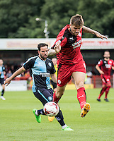 Sonny Bradley of Crawley Town clears during the Sky Bet League 2 match between Crawley Town and Wycombe Wanderers at Checkatrade.com Stadium, Crawley, England on 29 August 2015. Photo by Liam McAvoy.
