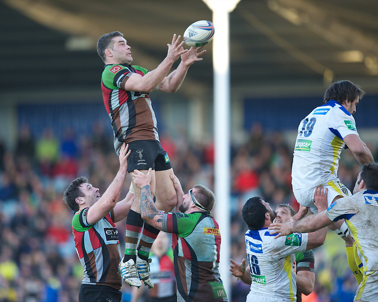 Nick Easter of Harlequins wins the lineout during the Heineken Cup Round 5 match between Harlequins and ASM Clermont Auvergne at the Twickenham Stoop on Saturday 11th January 2014 (Photo by Rob Munro)