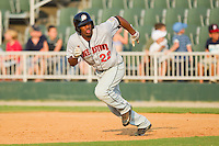 Destin Hood #22 of the Hagerstown Suns takes off for second base at Fieldcrest Cannon Stadium August 8, 2010, in Kannapolis, North Carolina.  Photo by Brian Westerholt / Four Seam Images