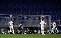 Roma s Henrikh Mkhitaryan, second from right, scores a goal during the Italian Serie A football match between Roma and Parma at Rome's Olympic stadium, July 8, 2020.<br /> UPDATE IMAGES PRESS/Isabella Bonotto