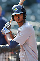 Right fielder Jose Medina (8) of the Columbia Fireflies works out before a game against the Lexington Legends on Friday, April 21, 2017, at Spirit Communications Park in Columbia, South Carolina. Columbia won, 5-0. (Tom Priddy/Four Seam Images)