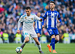 Daniel Ceballos Fernandez, D Ceballos (L), of Real Madrid fights for the ball with Jorge Franco Alviz, Burgui, of Deportivo Alaves during the La Liga 2017-18 match between Real Madrid and Deportivo Alaves at Santiago Bernabeu Stadium on February 24 2018 in Madrid, Spain. Photo by Diego Souto / Power Sport Images