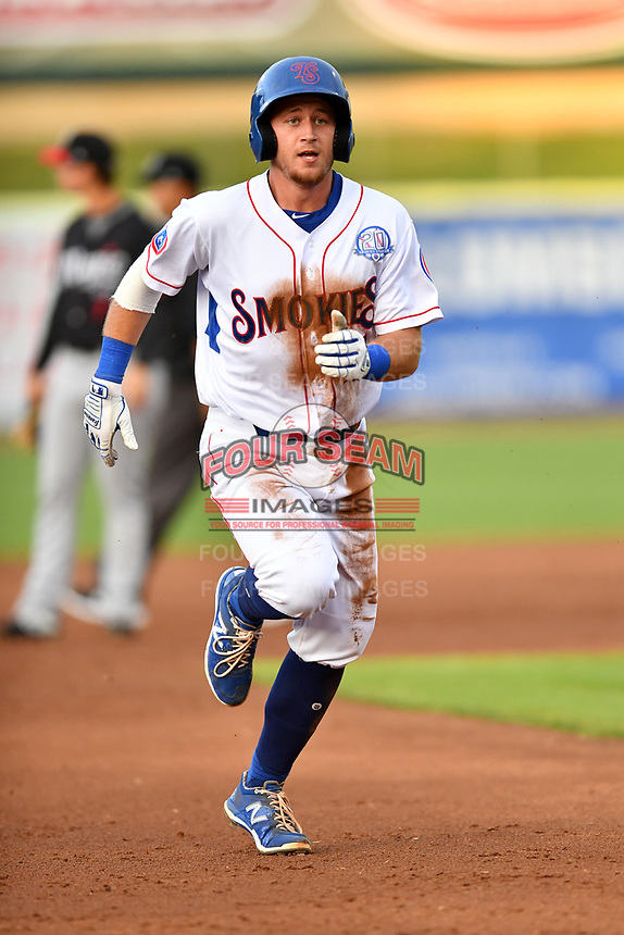 Tennessee Smokies catcher PJ Higgins (7) runs to third base during a game against the Birmingham Barons at Smokies Stadium on May 15, 2019 in Kodak, Tennessee. The Smokies defeated the Barons 7-3. (Tony Farlow/Four Seam Images)