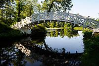 GERMANY, landscape park Dessau Woerlitz, wooden bridge / Deutschland Kulturstiftung und Gartenreich Dessau-Woerlitz in Sachsen-Anhalt, chinesische Bruecke aus Holz