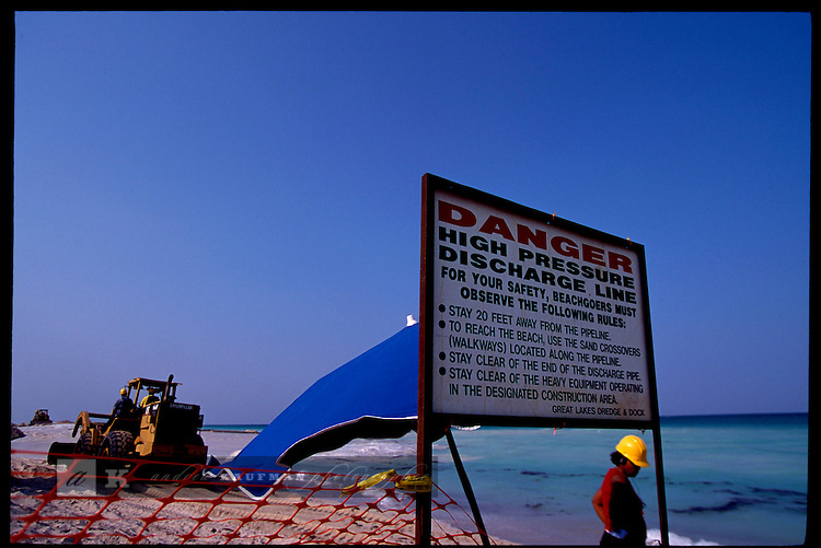 Miami Beach, Florida. May, 2001. Engineers try to take back the beach by pumping sand onto eroded beaches at 64th street and Collins Avenue.