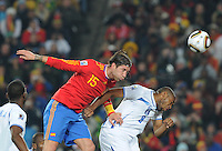 Sergio Ramos put s apowerful header on goal. Spain defeated Honduras, 2-0, in their second match of play in Group H  in a match played Monday, June 21st, at Ellis Park in Johannesburg, South Africa at the 2010 FIFA World Cup..
