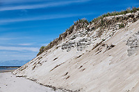 Dune erosion due to coastal storm damage, Chatham, Cape Cod, Massachusetts, USA.