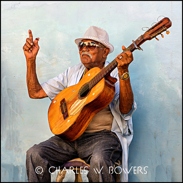 Guitar man street band in Trinidad Cuba at 500 year celebration.<br />