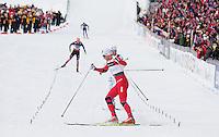 Holmenkollen, 20110304. Herrestafetten. Petter Northug inn til gull, skrenser før målgang. Oslo Ski Vm Holmenkollen. Foto: Eirik Helland Urke / Dagbladet