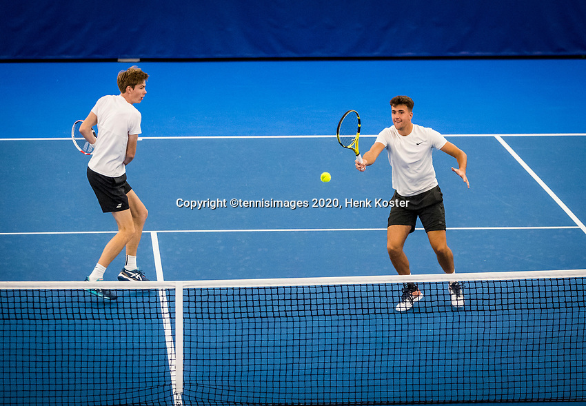 Amstelveen, Netherlands, 16  December, 2020, National Tennis Center, NTC, NK Indoor, National  Indoor Tennis Championships,  Doubles : Rob van den Berg (NED) and<br /> Stefan Loncar (NED)<br /> Photo: Henk Koster/tennisimages.com