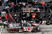 #51: Harrison Burton, Kyle Busch Motorsports, Toyota Tundra Morton Buildings, makes a pit stop