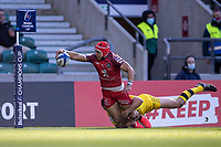22nd May 2021; Twickenham, London, England; European Rugby Champions Cup Final, La Rochelle versus Toulouse; Cheslin Kolbe of Toulouse scores a try that was later disallowed