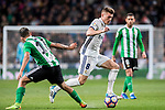 Toni Kroos of Real Madrid runs past Matias Nahuel Leiva of Real Betis during their La Liga match between Real Madrid and Real Betis at the Santiago Bernabeu Stadium on 12 March 2017 in Madrid, Spain. Photo by Diego Gonzalez Souto / Power Sport Images