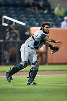 Hudson Valley Renegades catcher Rafelin Lorenzo (28) makes a throw to first base against the Aberdeen IronBirds at Leidos Field at Ripken Stadium on July 27, 2017 in Aberdeen, Maryland.  The IronBirds defeated the Renegades 3-0 in game two of a double-header.  (Brian Westerholt/Four Seam Images)