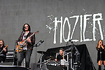 Hozier on stage at Slane Castle backing up the Foo Fighters.<br /> Picture www.newsfile.ie