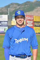 Ryan Scott (8) of the Ogden Raptors poses for a photo during media day on June 14, 2014 at Lindquist Field in Ogden, Utah. (Stephen Smith/Four Seam Images)