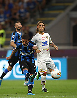 Calcio, Serie A: Inter Milano - Lecce, Giuseppe Meazza stadium, September 26 agosto 2019.<br /> Inter's Stefano Sensi(l) in action with Lecce's Jacopo Petriccione (r) during the Italian Serie A football match between Inter and Lecce at Giuseppe Meazza (San Siro) stadium, September August 26,, 2019.<br /> UPDATE IMAGES PRESS/Isabella Bonotto