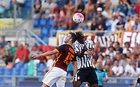 Calcio, Serie A: Roma vs Juventus. Roma, stadio Olimpico, 30 agosto 2015.<br /> Roma's Miralem Pjanic, left, and Juventus' Paul Pogba jump for the ball during the Italian Serie A football match between Roma and Juventus at Rome's Olympic stadium, 30 August 2015.<br /> UPDATE IMAGES PRESS/Riccardo De Luca