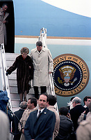 Canadian Governor Jeanne Sauve welcome US President Ronald Reagan and wife nancy in Ottawa, March 11, 1981<br /> <br /> PHOTO : Agence Quebec Presse