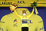 New race leader Primoz Roglic (SLO) Team Jumbo-Visma in the Yellow Jersey at the end of Stage 9 of Tour de France 2020, running 153km from Pau to Laruns, France. 6th September 2020. <br /> Picture: ASO/Alex Broadway   Cyclefile<br /> All photos usage must carry mandatory copyright credit (© Cyclefile   ASO/Alex Broadway)